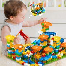 86-303PCS-344PCS Marble Race Run Big Block Compatible Building Blocks Funnel Slide Blocks DIY Big Bricks Toys For Children Gift