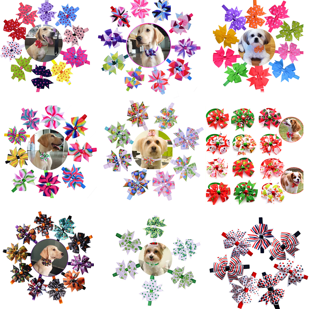 Wholesale 500pcs Fashion Pet Holiday Supplies Pet Dog Cat Bowties Collar Samll-Middle Puppy Christmas Grooming Accessories