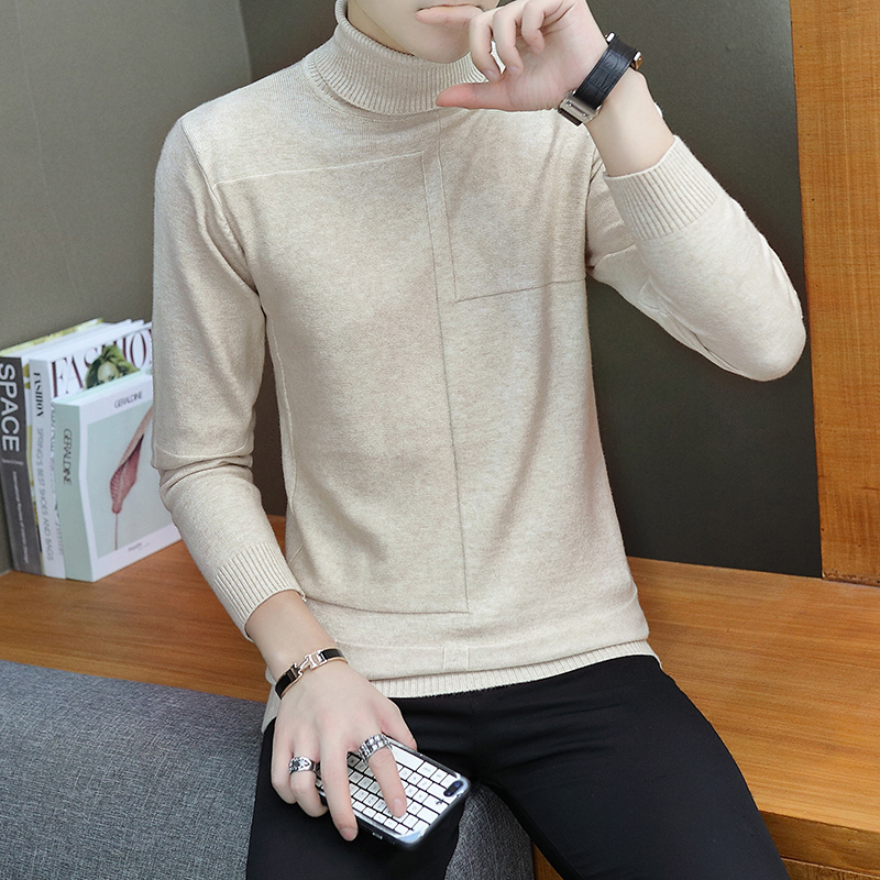 2019 Men's Long Sleeve Single Knit Sweaters Solid Color Slim Fit Turtleneck Cashmere Woolen Pullover Casual Thicken Knitting