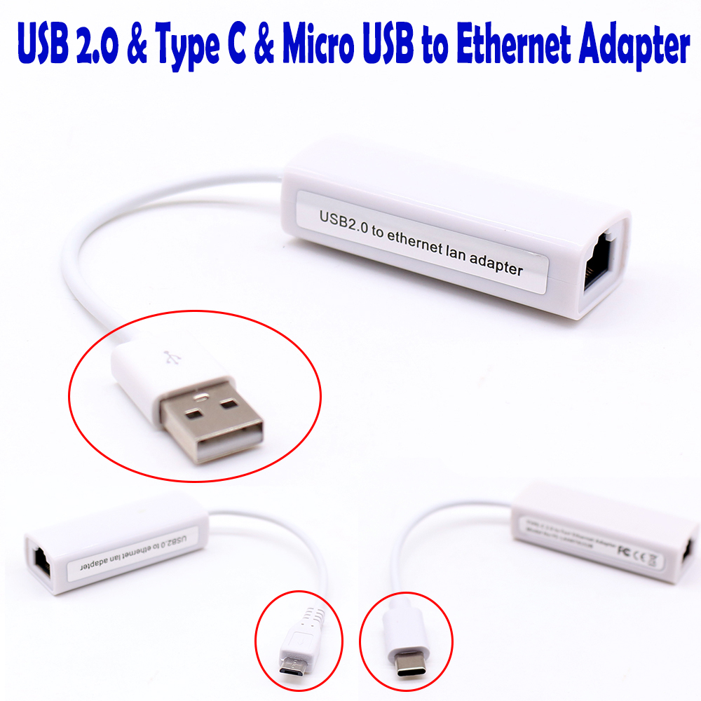 External USB Wired Ethernet Network Card Adapter USB To Ethernet RJ45 Lan Type C Micro USB To Lan For Win XP/7/8/10 MacBook 8152