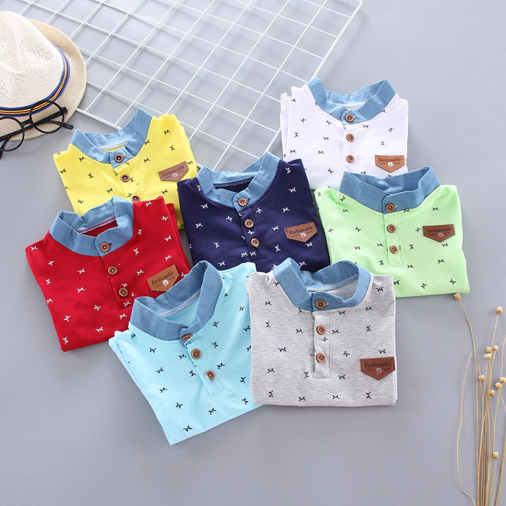 Girls Shirt Tops Button Letter Gentleman Toddler Baby-Boys Kids Print Fashion Children's title=