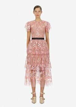 Luxury Women Runway Designers High Quality Multi Layer Sheer Mesh Dress Embroidery Flower Summer Midi O Neck Robe Femme фото