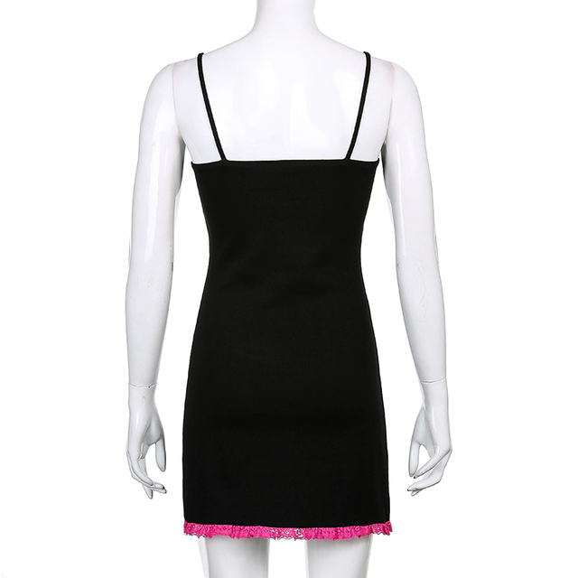 Sweetown Black Y2K Aesthetic Mini Dress Women Baby Pink Lace Trim Cute Kawaii Bodycon Dresses Sleeveless Sexy E Girl Clothes 6