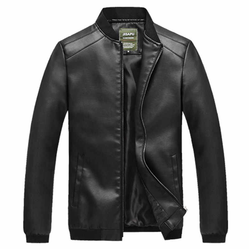 Spring And Autumn Thin Men Baseball Collar Three Bars PU Leather Coat Large Size Casual Biker Jacket Men's