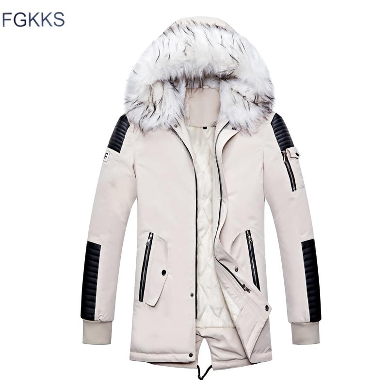 FGKKS Brand Men Warm Fashion Parkas Coats Winter Male Fur Collar Hooded Parka Overcoat Men's Thicken Comfortable Parkas Coat
