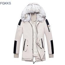 FGKKS Brand mężczyźni ciepłe moda parki płaszcze zimowe męskie futro kołnierz kurtka z kapturem płaszcz męska zagęścić wygodne parki płaszcz tanie tanio COTTON Poliester 1 2kg REGULAR Na co dzień STANDARD NONE Stałe zipper Parkas Suknem