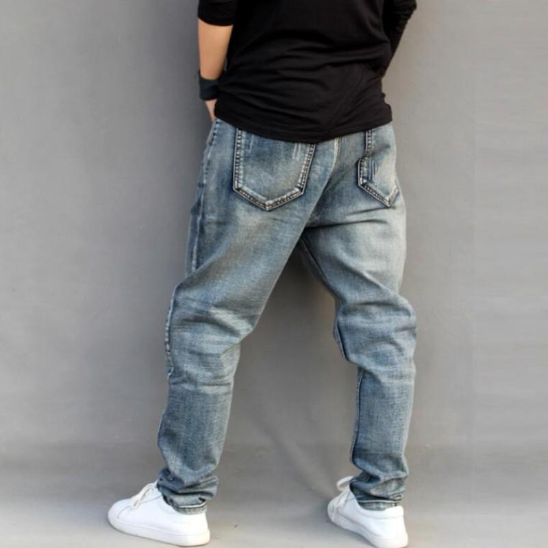 Men Famous Brand Mens Ripped Jeans Loose Fit Vintage Retro Distressed Harem Jeans Homme Tapered Denim Pants Pencil Jeans