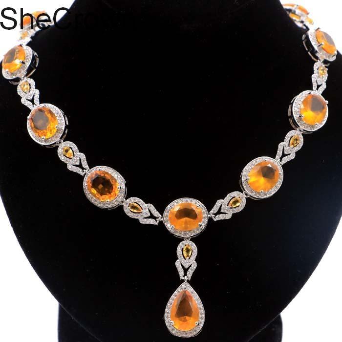 Pretty Golden Citrine White CZ SheCrown Woman s Silver Necklace 19 0 19 5in 48x16mm