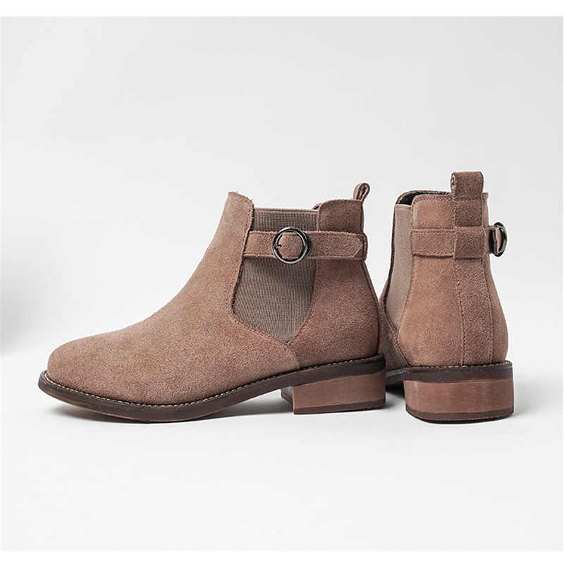 ฤดูหนาวรองเท้าผู้หญิงข้อเท้ารองเท้าหนังนิ่มสีดำรองเท้าเชลซีบนสุภาพสตรีหนารองเท้าส้นรองเท้าแฟชั่นหญิง 2019