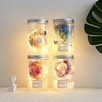 LED Romantic Night Light Rose Flower Jar Lamp Valentine Day Gift With Light String Portable Christmas Gift