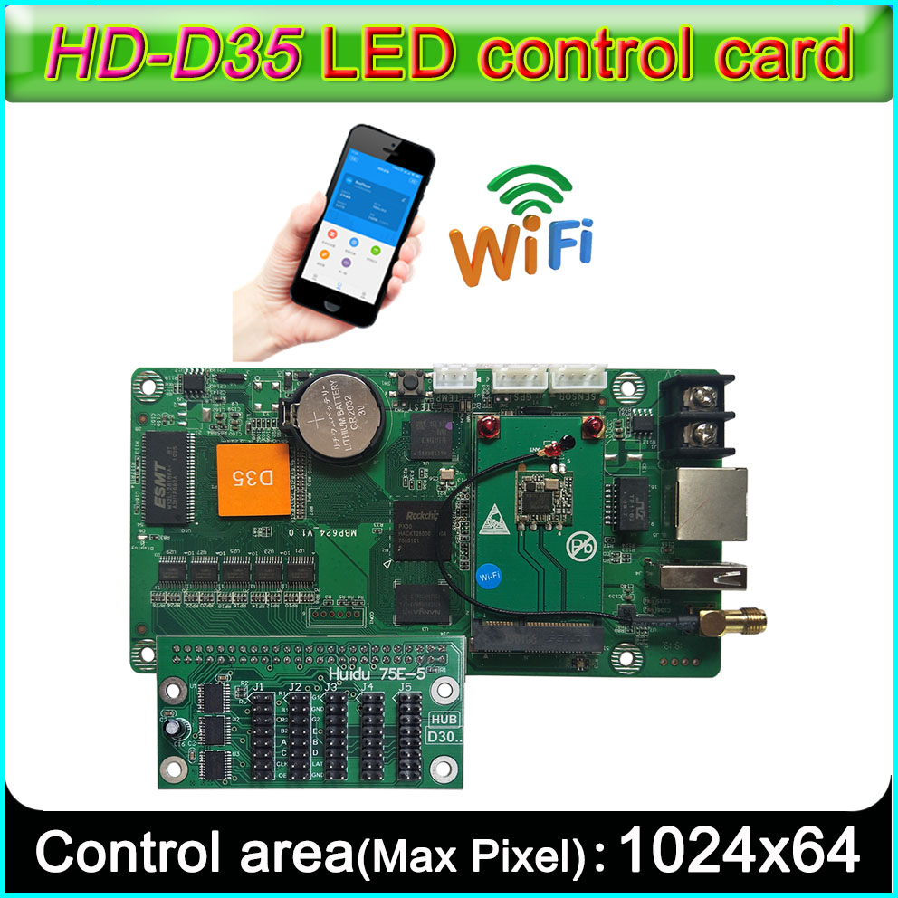 New HD-D35 Full-color LED Sign Controller,  Support WIFI ,Network RJ45, U-disk Communication, Strip-type Video Screen Controller