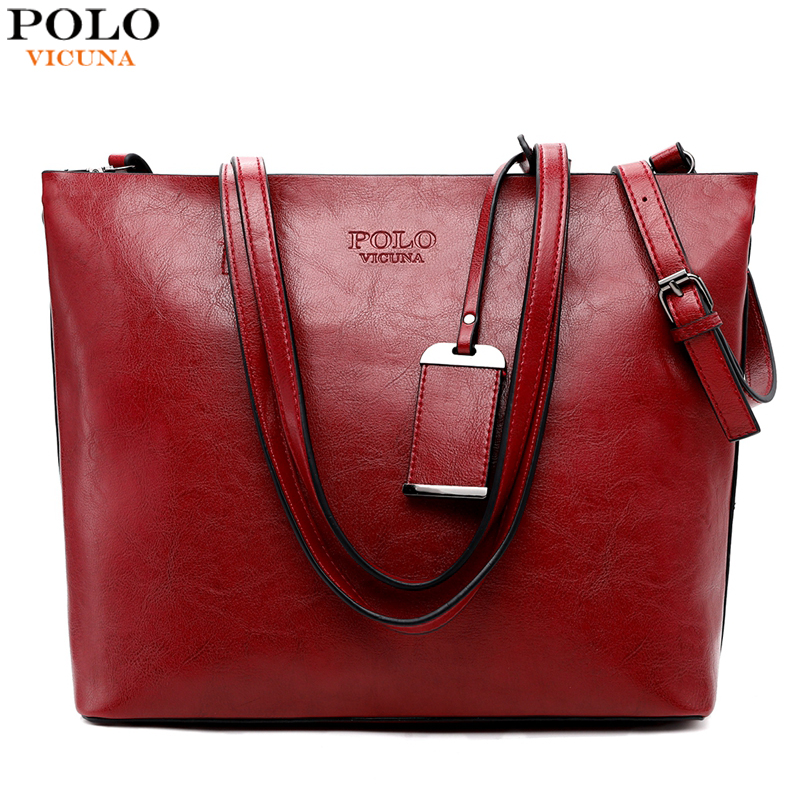 VICUNA POLO Large Capacity Oil Leather Bag For Women Trendy Fashion Ladies Messenger Bag Big Shoulder Tote Bags Torebki Damskie