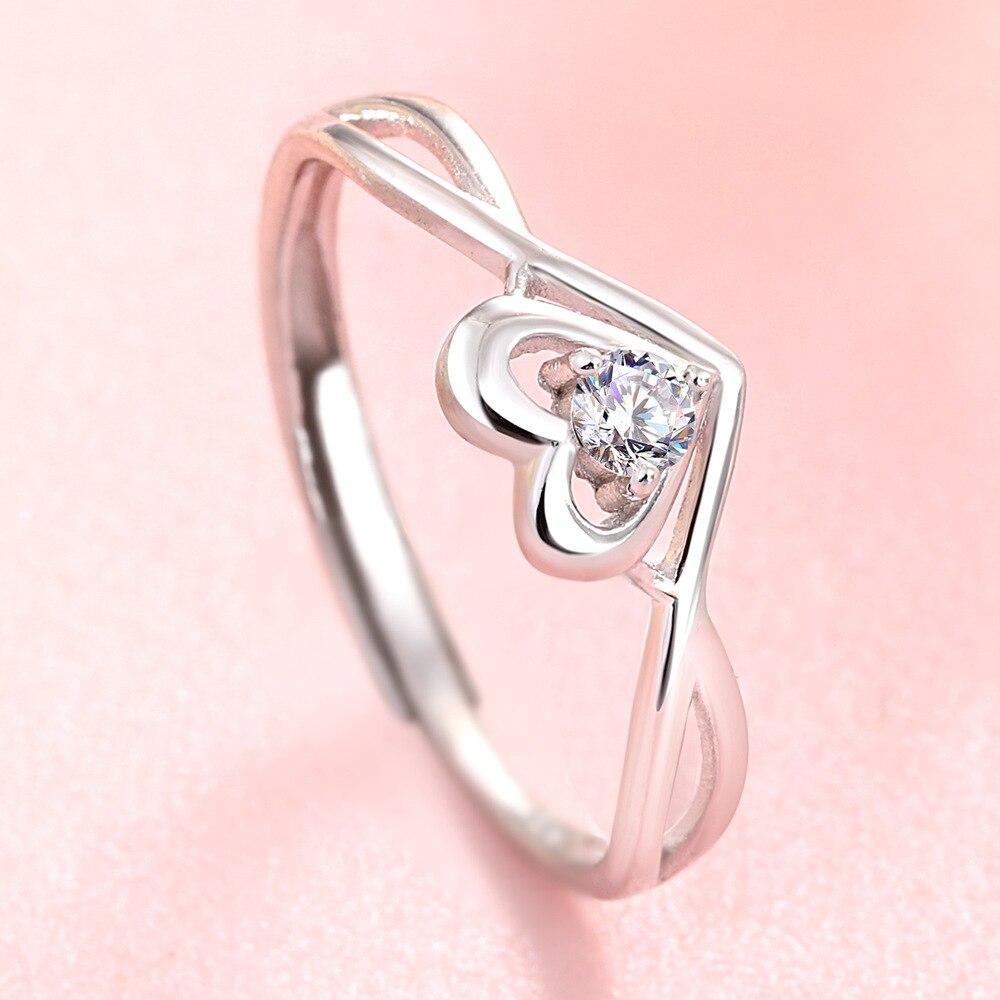 Новый Модный кристалл помолвочный открытый 925 Серебряный Дизайн Горячая продажа кольца для женщин AAA белый циркон кубическое элегантное