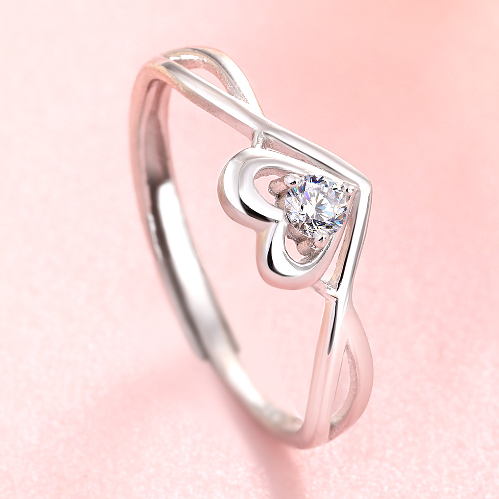 New Trendy Crystal Engagement  Open 925Silver Design Hot Sale Rings For Women AAA White Zircon Cubic Elegant Rings Femal Wedding