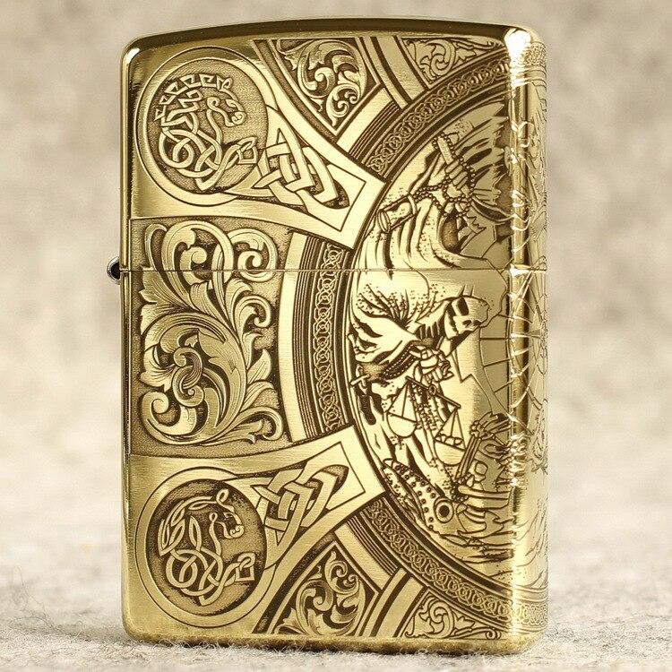 Genuine Zippo Lighter Original Oil Lighter Carving Copper Windproof Cigarette Lighter Kerosene Lighters Gift For Men