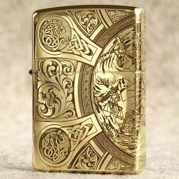 Genuine oil lighter original oil lighter carving copper windproof cigarette lighter Kerosene lighters gift for men