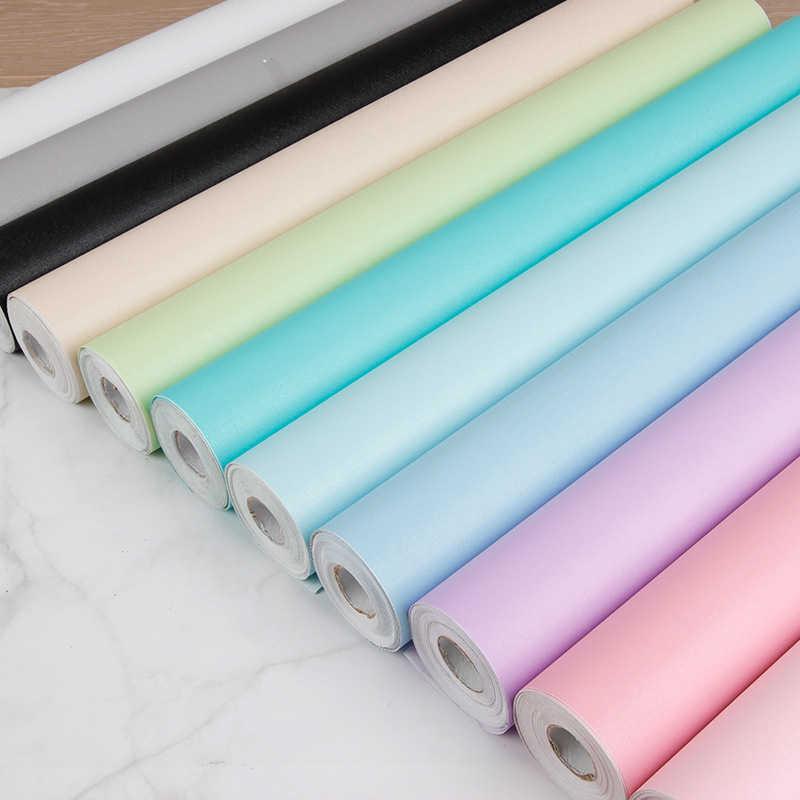0.45m * 1m מוצק צבע Macaron עמיד למים גרסה קיר מדבקות טפט סרט משופץ ארון בגדים דלת ארון שולחן עבודה