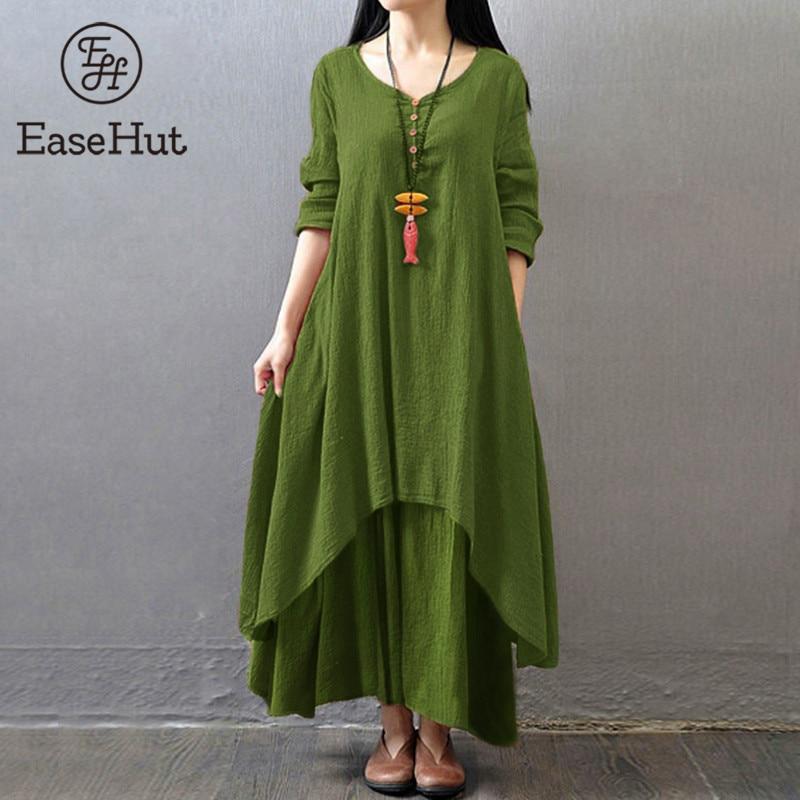 EaseHut Vintage Women Casual Loose Dress Solid Long Sleeve Boho Ethnic Autumn Long Maxi Dresses Plus Size Retro Vestido Mujer