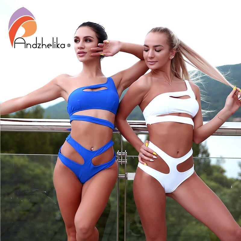 Bandagem para as Mulheres Andzhelika Sexy Pedaço Maiô Sólido Ombro Cortar Monokini Bodysuit um