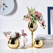 Flower-Vase Dining-Table Luxury Arrangement Glass Golden-Goblet Home-Decoration Creative