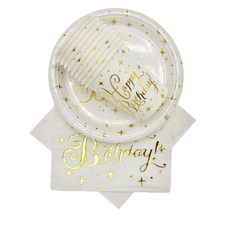 Купить с кэшбэком Birthday Party Supplies Set Gold star Decoration Tableware Paper Straw Plate Cup Birthday Party Home Decorations for Kids