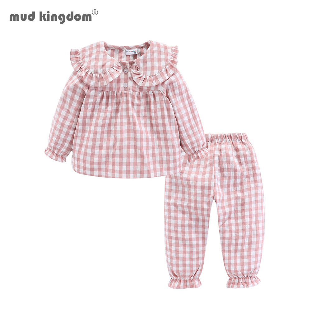 Mudkingdom Girls Pajama Set Peter Pan Collar Cute Plaid Kids Homewear Casual Toddler Pajamas Kids Sleepwear 1