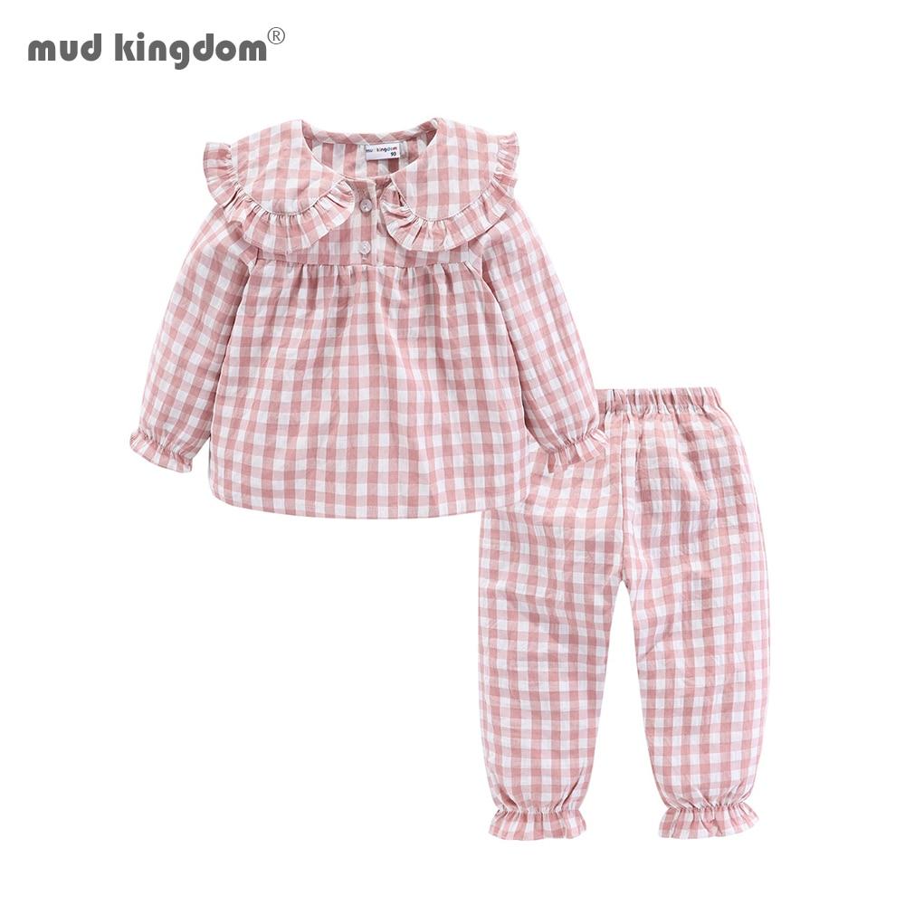 Mudkingdom Girls Pajama Set Peter Pan Collar Cute Plaid Girl Pajamas Suit Homewear Toddler Pajamas Girls Jammies Sleepwear