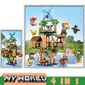 Meu mundo se 4 em 1 blocos de construção tijolos com 4 bonecas figuras ação compatível minecraftallys conjuntos brinquedos presentes para crianças