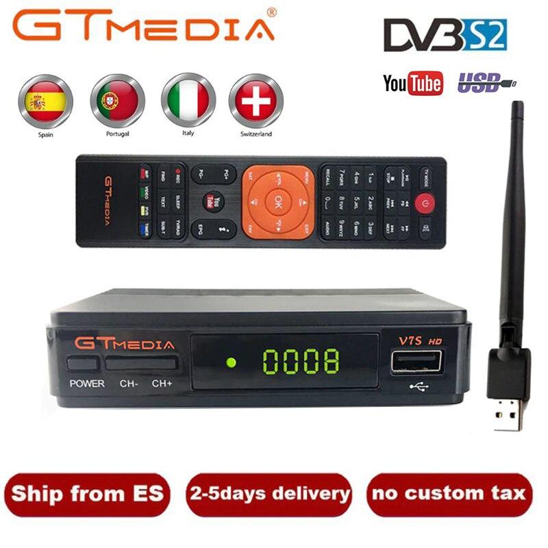 GTMedia V7S HD DVB-S2 Satellite Receiver With USB WIFI FTA 1080p Receiptor Upgrade Freesat V7 TV Sat Deocoder GT Media TV Box