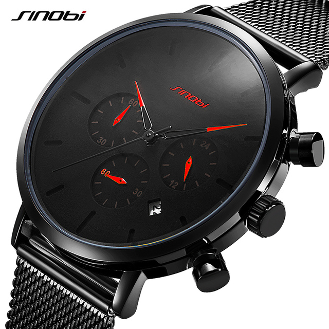 2019 SINOBI Mens Watches Top Brand Luxury Men's Business Quartz Wristwatch Men Sport Slim Mesh Steel Watches Relogio Masculino