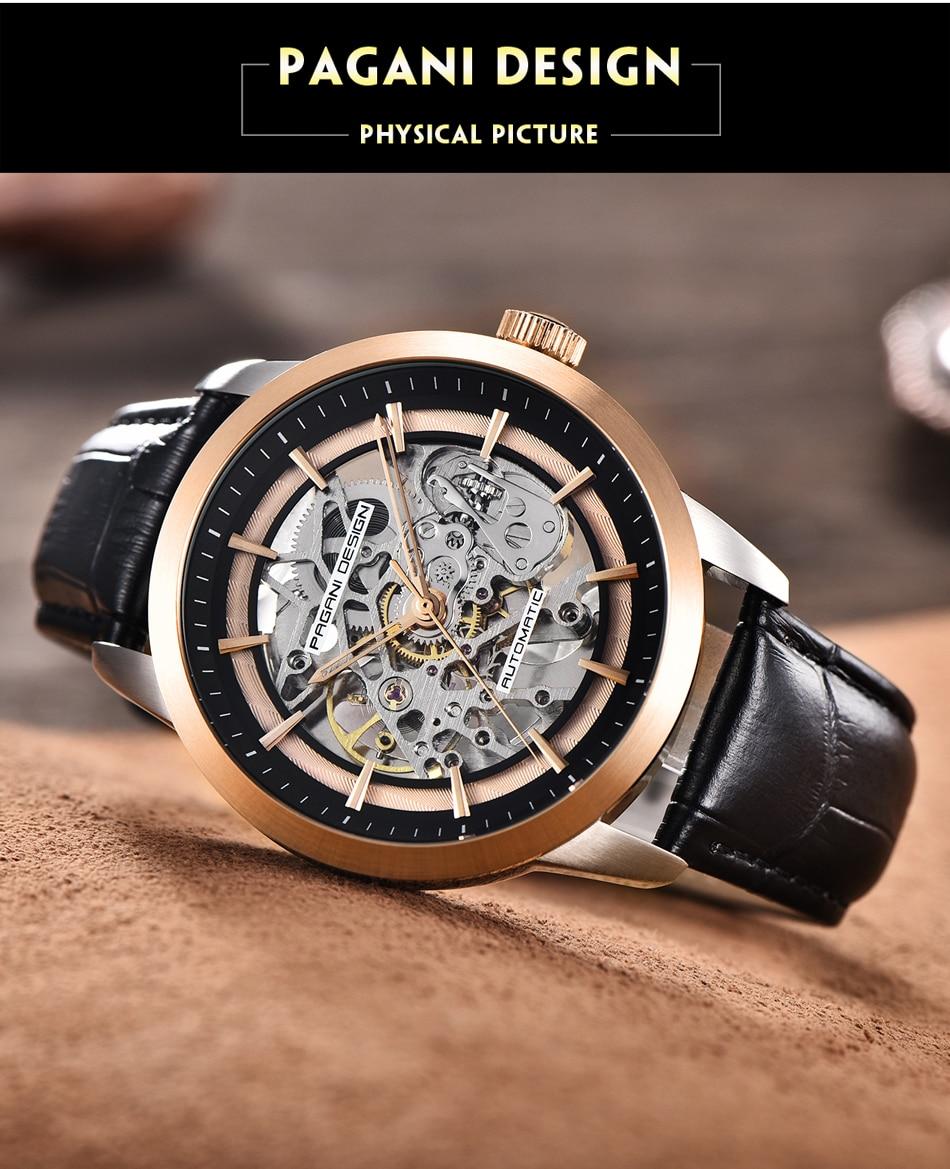 Pagani relógio de pulso mecânico, design de