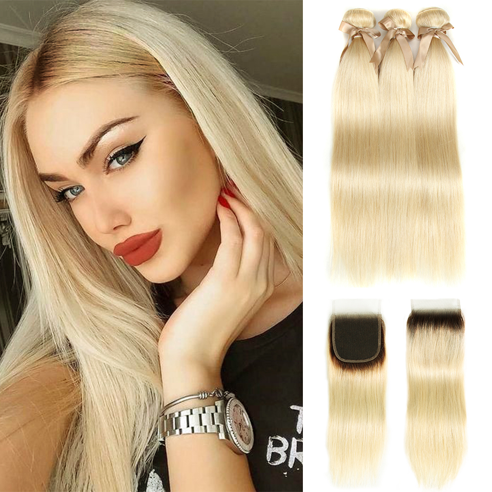 Joedir Honey Blonde Bundles With Closure Brazilian Remy Straight Human Hair 613 Bundles With Dark Roots Closure Free Shipping