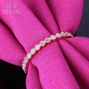 Image 4 - Женское Обручальное кольцо с натуральным бриллиантом HELON, розовое золото 18K (AU750), 15 карат, модные ювелирные украшения