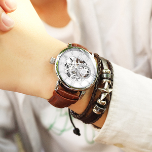 Image 5 - 2020 New Brand MG ORKINA Clocks Men Watches Leather Strap Mechanical Wristwatch Silver Skeleton Watch Transparent Hollow Design