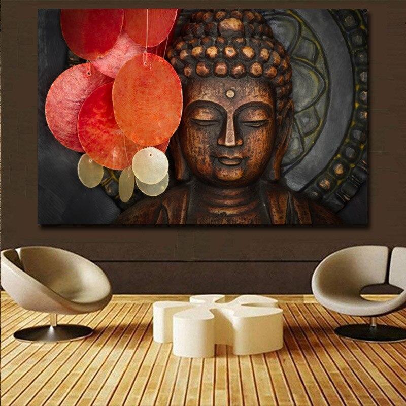 Tela de buda vívida para parede, pintura facial, poster e impressão de pintura para parede, decoração de escritório, sala de estar, templo