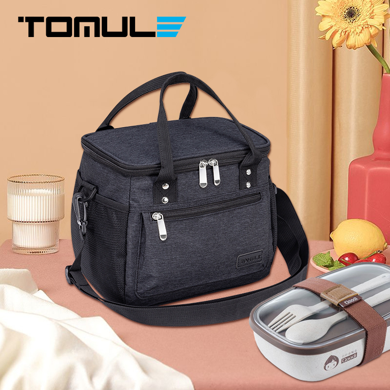 TOMULE Canvas Waterproof Cooler Bag Insulated Thermal Lunch Bags For Women Picnic Bento Food Storage Bag Portable Lunch box Tote