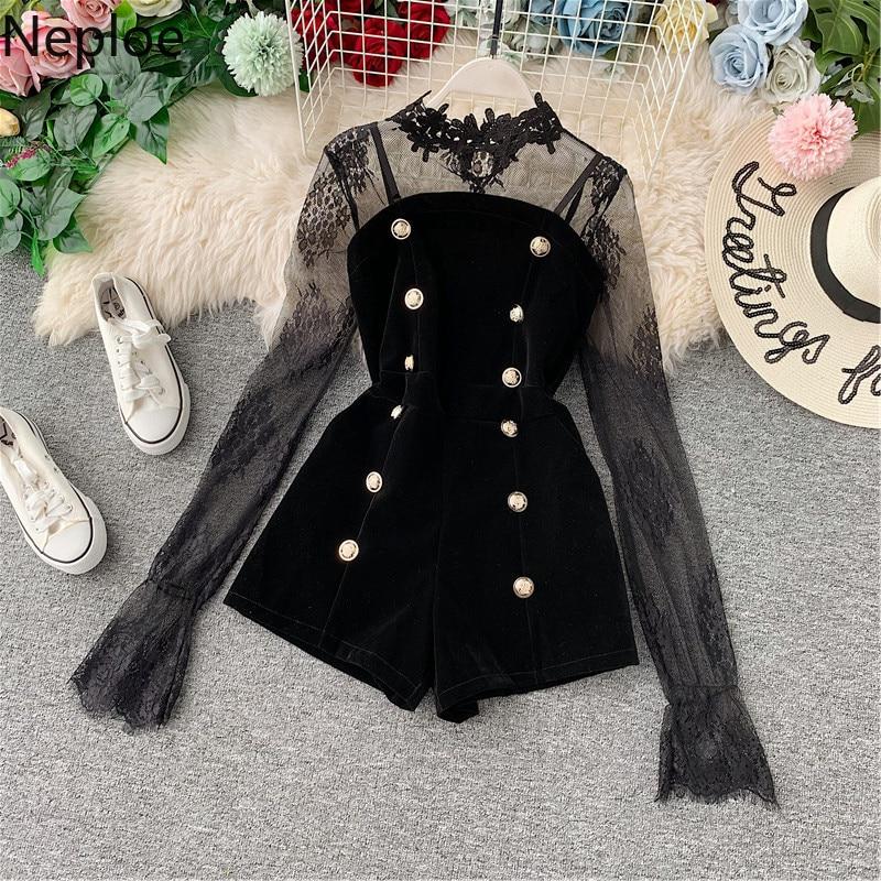 Neploe 2020 Lace Velvet Jumpsuits Women Fashion Slim V Neck Playsuit Women Elegant Long Sleeve Female Ladies Bodysuits 1A881