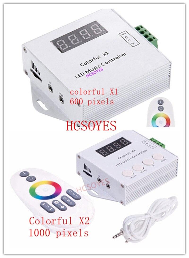 Işıklar ve Aydınlatma'ten RGB Kumandaları'de Renkli Müzik X1 X2 Denetleyici DC5V 12V 24V WS2812 WS2811 WS2813 6803 1903 IC dijital adreslenebilir LED Şerit Denetleyici piksel
