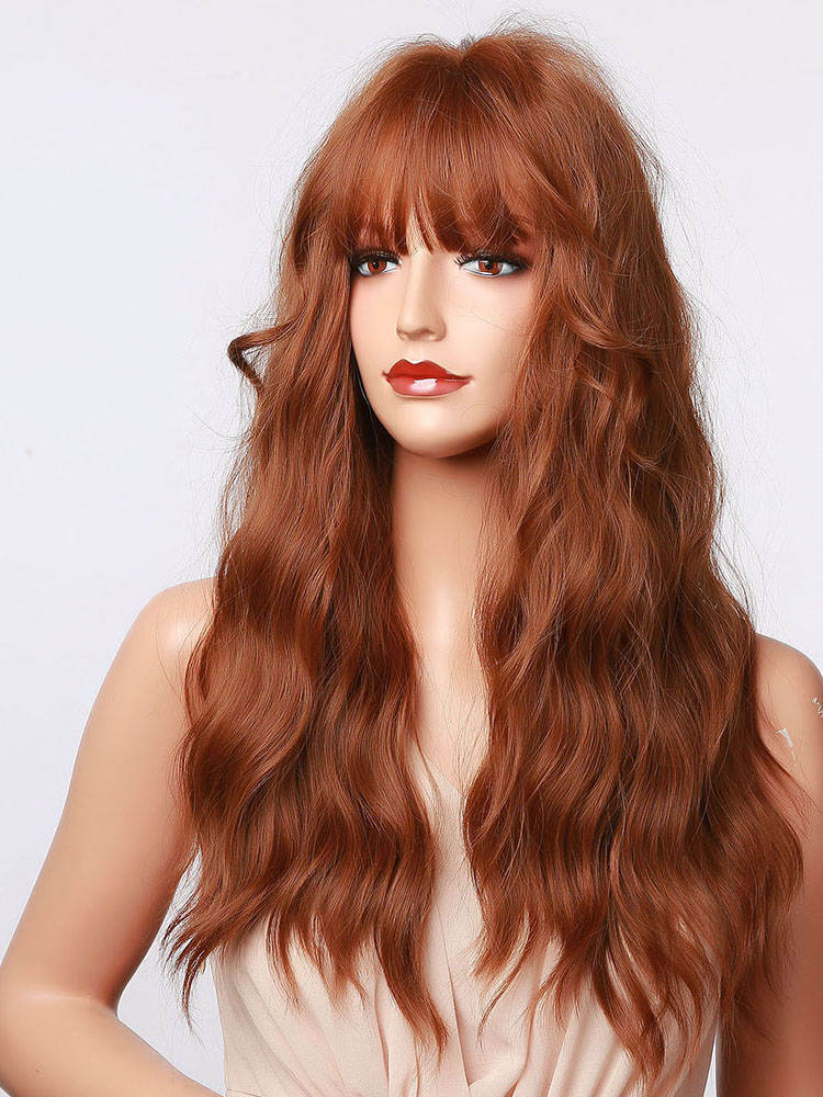 Orange Wigs Bangs Synthetic-Hair Afro Henry Margu Cosplay Wavy Heat-Resistant Brown Party