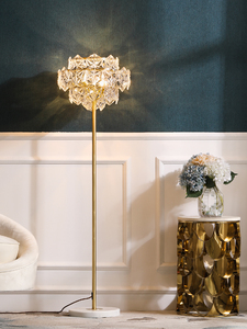 Image 3 - Nordic Luxury LED Floor Lamps Copper Crystal Living room Home Standing lighting Bedroom Villa Marble Vertical Lights