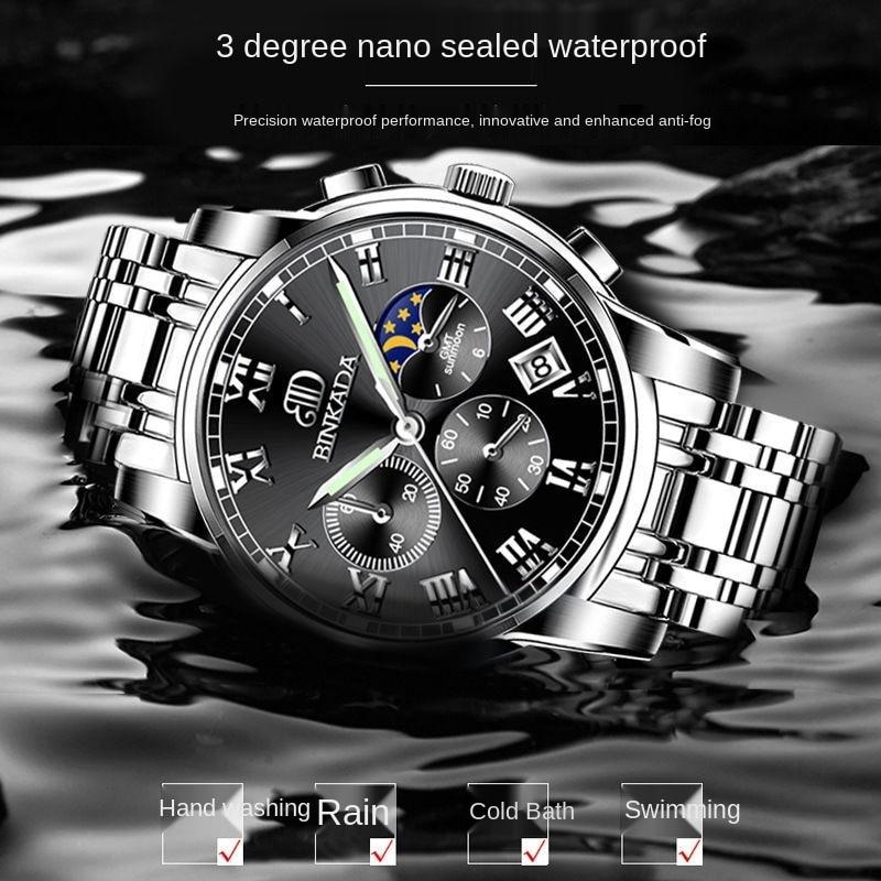 Оригинальные мужские часы известного бренда Binkada, швейцарские водонепроницаемые светящиеся кварцевые часы, высококачественные автоматиче...