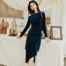 2019 Autumn Winter Sexy Party Dress Women Draped Asymmetrical Bandage Bodycon Dresses Long Sleeve Casual Blue Velvet