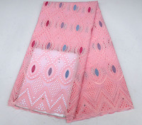 Latest Design Punch cotton African Dry Lace Fabrics High Quality Cotton Lace Fabric Pink Swiss Voile Lace In Switzerland