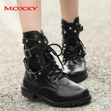 2019 New Gothic Punk Ankle Boots Women Shoes Black Platform Martin Leather Lace Up Combat Plus Size 42