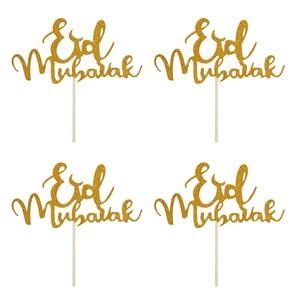 Image 4 - 1 Uds. Adornos para magdalenas Mubarak de Feliz Eid con purpurina, decoración de fiesta Eid musulmana de plata dorada, palillos para fruta para tratar alimentos