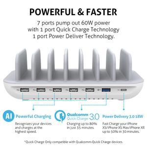 Image 3 - Station de recharge USB SooPii 60W 7 ports pour plusieurs appareils, charge rapide avec QC 3.0 & alimentation 3.0 7 câbles inclus