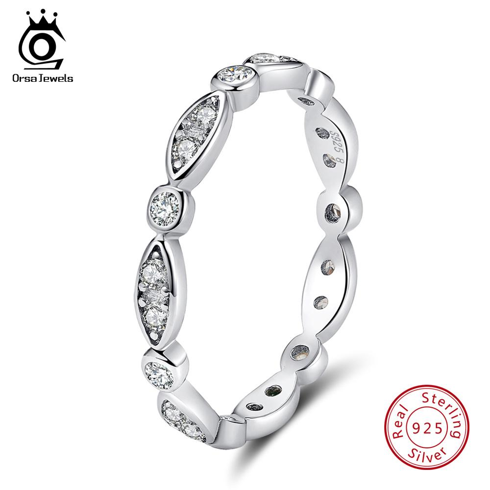 ORSA JEWELS Genuine 100% 925 Silver Ring Classic Style Eternity Rings For Engagement & Wedding Party Trendy Jewelry ASR71