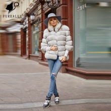Furealux Luxury Real Natural Blue Fox Fur Fluffy Big Turn-down Collar Thicken Warm Winter Coat Short Women New Arrival Full Pelt