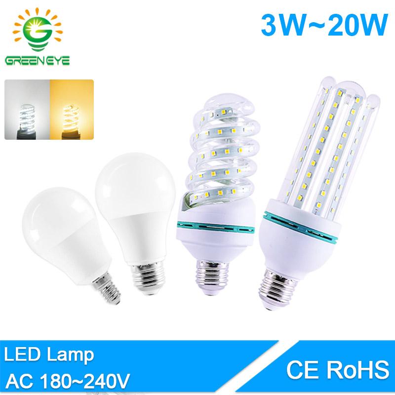 GreenEye Led Bulb E27 E14 3W 7W 9W 12W 16W 20W LED Light AC 220V 2835 SMD Real Watt Lumiere Bombilla Lampadina LED Lamp Aluminum
