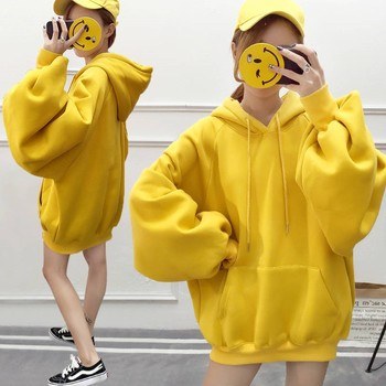 Hoodies Women Hooded Solid Simple All-match Leisure Oversize Pullovers Korean Style Warm Kawaii Womens Loose Trendy Clothing New